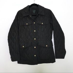 J. Crew Black Quilted Jacket Gold Buttons XSmall